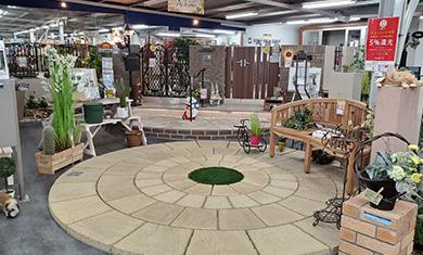 お庭や門扉、塀、カーポートなどエクステリアに関する展示も充実しております。
